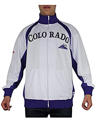 MLB Colorado Rockies Mens Zip-Up Track Jacket with Embroidered Logo