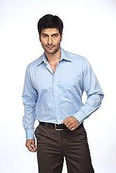 ColorPlus Medium Blue Cotton Shirt