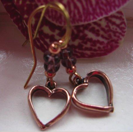 Solid Copper Dangle Earrings 8789a