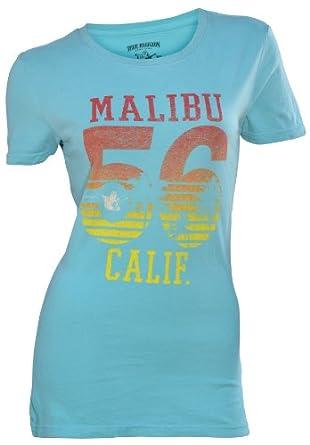 True Religion Brand Jeans Women's Malibu 56 Shirt-Sea Blue-Medium