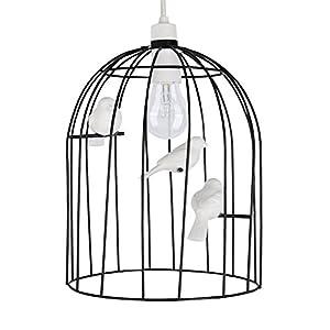 Stunning Ornate Birdcage Chandelier Ceiling Pendant Light With Decorative Ceramic Birds by MiniSun