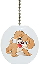Carolina Hardware and Decor 1856F Cute Puppy Ceramic Fan Pull