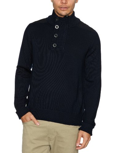 Alan Paine Mildale Button and Zip Placket Men's Jumper Navy C48IN