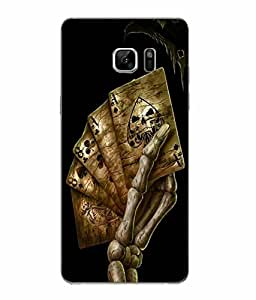 Snazzy Skull Printed Golden Hard Back Cover For Samsung Galaxy Note 7