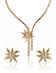 Estelle Gold And Silver Plated Necklace Set With Crystals (6703)