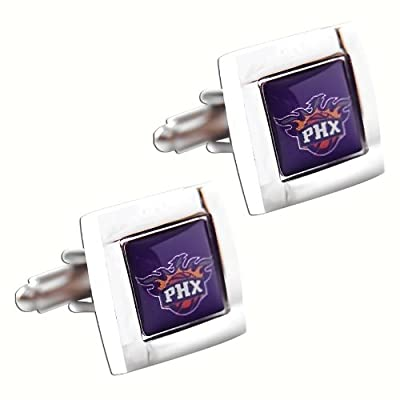 Phoenix Suns NBA Sports Fan Team Logo Square Engraved Design Mens Shirt Cufflinks Gift Box Set