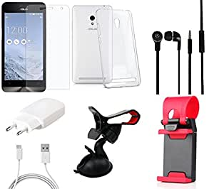 NIROSHA Tempered Glass Screen Guard Cover Case Charger Headphone Mobile Holder for ASUS Zenfone 6 - Combo