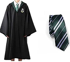 Harry Potter Youth Adult Robe Cloak with Tie (Slytherin,XL) with one free Harry Potter Letter