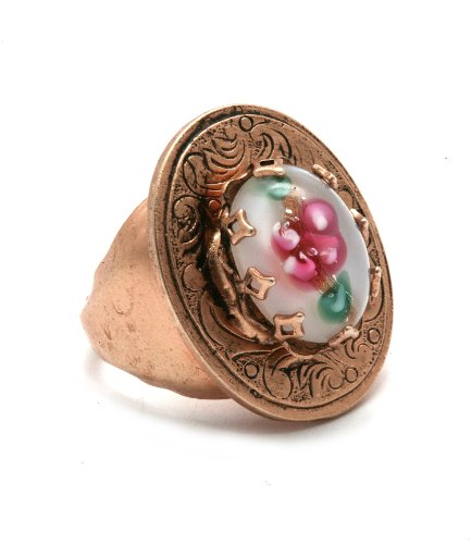 'Flow' Collection by Amaro Jewelry Studio Oval Shaped Ring Embellished with Amazonite, Blue Lace Agate, Mother of Pearl, Pink Mussel Shell, Pearl, Rose Quartz and Variscite; 24K Rose Gold Plated