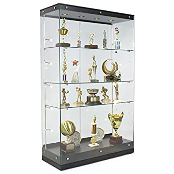 Displays2go Tall Illuminated Glass Showcases, Tempered Glass Painted MDF, Convertible Shelves – Black (GTAP48BLKT)
