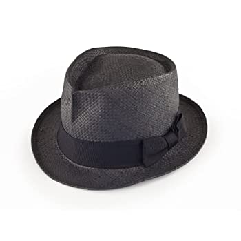 Straw Fedora hat in black size small