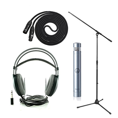 Akg P170 High-Performance Instrumental Mic With On Stage Boom Mic Stand, Lyxpro 25' Black Premium Cable Xlr M/F, Akg K77 Perception Over-Ear Studio Headphones
