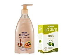 Dalan Exotic International Fragrances in (Handwash, Liquid Soap Plus DOlive 100 Percent Pure Olive Oil Soap, 150g) Combo Pack of Chocolate Milk and Cocoa Butter, 400ml