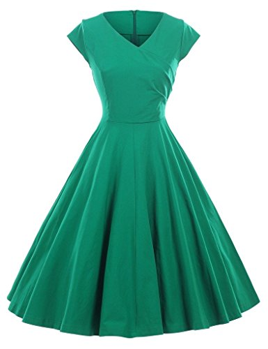 GownTown-1950s-Vintage-Dresses-V-neck-Cap-sleeves-Swing-Stretchy-Dresses