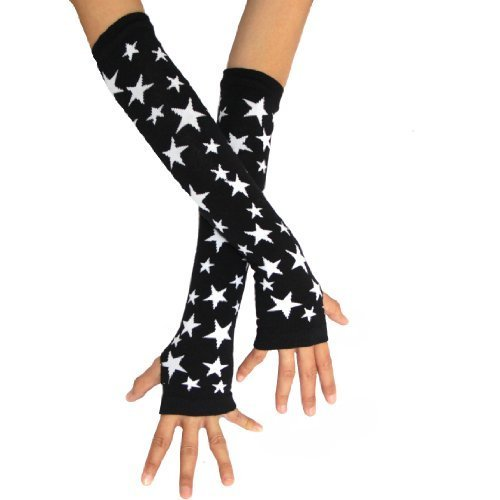 ECOSCO Punk Gothic Stars Pattern Hand Arm Warmer Finger Gloves