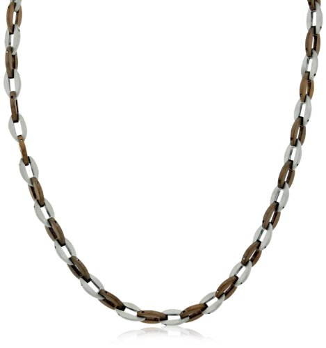 Men's Stainless Steel Brown Ionic Plated Links Necklace