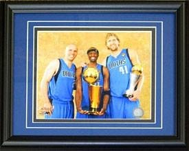 Dirk Nowitzki Jason Kidd & Jason Terry Framed Unsigned 8X10 Photo - Nba Photos