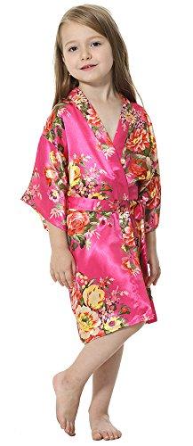 Joytton Girl's Satin Floral Kimono Bathrobe Flower Girl Robe (8,Fuchsia)