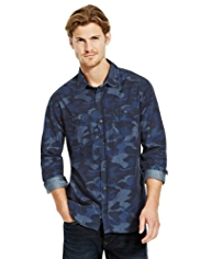 North Coast Pure Cotton Camouflage Print Slim Fit Denim Shirt