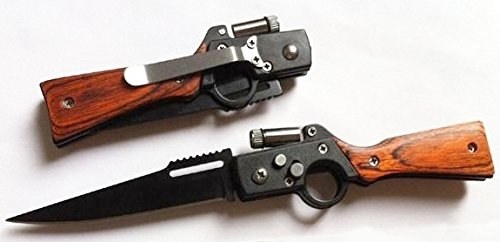 Martello Technology ® AK47 Rifle Shaped Tactical Combat Folding Knife – Spring Assisted Knife – Pocket Knife – Hunting Knife – Military Knife – with LED Flashlight – Perfect Gift & Collection – Great Design