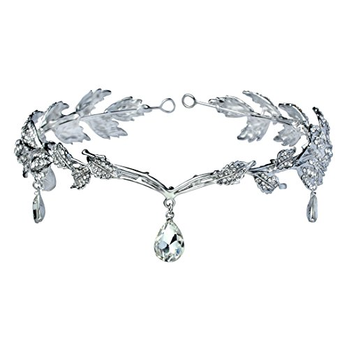 Babeyond® Women Wedding Bridal Bridesmaid Beaded Forehead Band Dangle Rhinestone Austrian Crystal Headband Headpiece