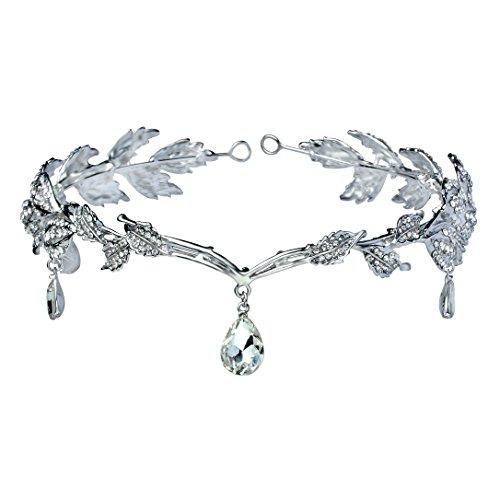 Babeyond® Women Wedding Bridal Bridesmaid Beaded Forehead Band Dangle Rhinestone Austrian Crystal Headband Headpiece