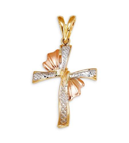 New 14k Yellow White Rose Gold Religious Cross Pendant