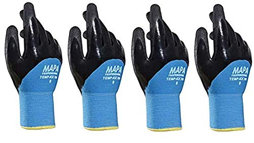 Temp-Ice 700410 700 Gloves, Double Thermal Lined 3/4 Coated Nitrile Grip and Proof Coating, Cold Protection Up to -10 Degree C, Size 10, Black/Blue (1Pair Pack) (F?ur ???k) (Color: Blue, Tamaño: F?ur ???k)