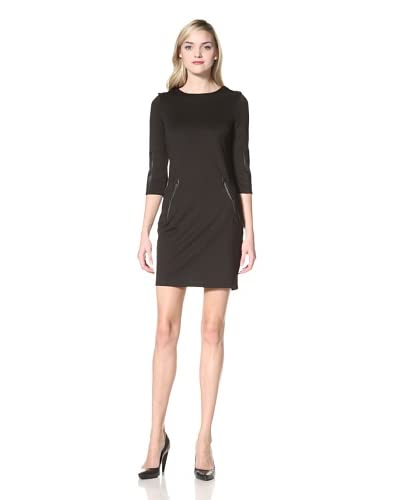 W118 by Walter Baker Women's Tonya Faux Leather Detail Dress  [Black]