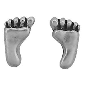 Sterling Silver Earrings Posts Studs Tiny Foot Footprint Bare Feet