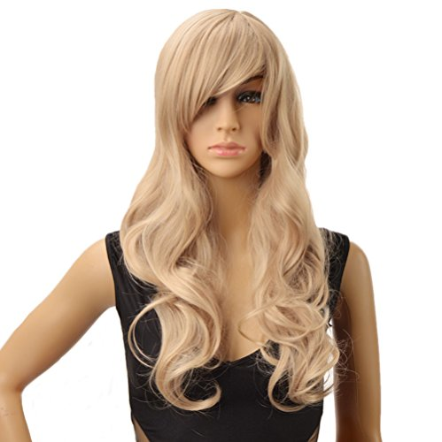 DAYISS Women's Sexy Long Curly Wavy Hair Blonde Mixed Cosplay Party Full Wig