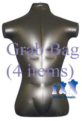 Grab Bag of 4 Inflatable Mannequins, Male Torso, Standard Size, Matte Black