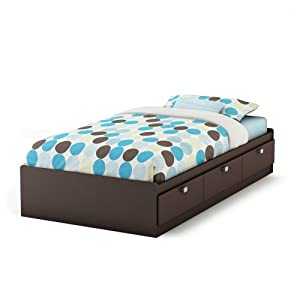 "South Shore Furniture Cakao Collection Twin Mates Bed 39"" Chocolate"