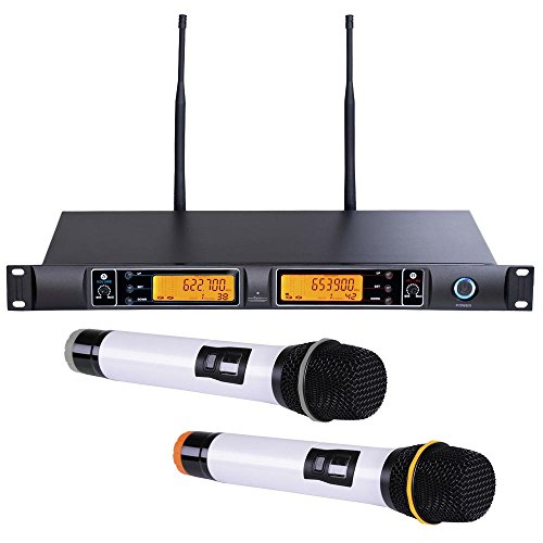 AW UHF 200 Channel Wireless Mic System 2x HandHeld Microphone 30Ft SMT Dual LCD Singer Show Party (Microphone Singer compare prices)