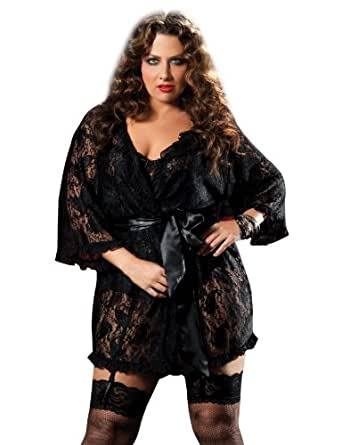 Lace Robe, Black, 3-4X: Adult Exotic Sleepwear And Robe Sets: Clothing
