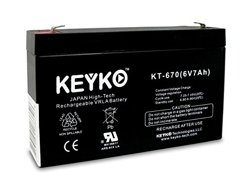 6V 7Ah Keyko Rechargeable Sla Battery Kt-670 (Np7-6 Compatible) Electronic Fence And Gates, Ups, Medical, Powersports, Emergency Lighting, Fire And Burglar Alarm, Scooters, Apc Power Stack 250 Battery Replacement