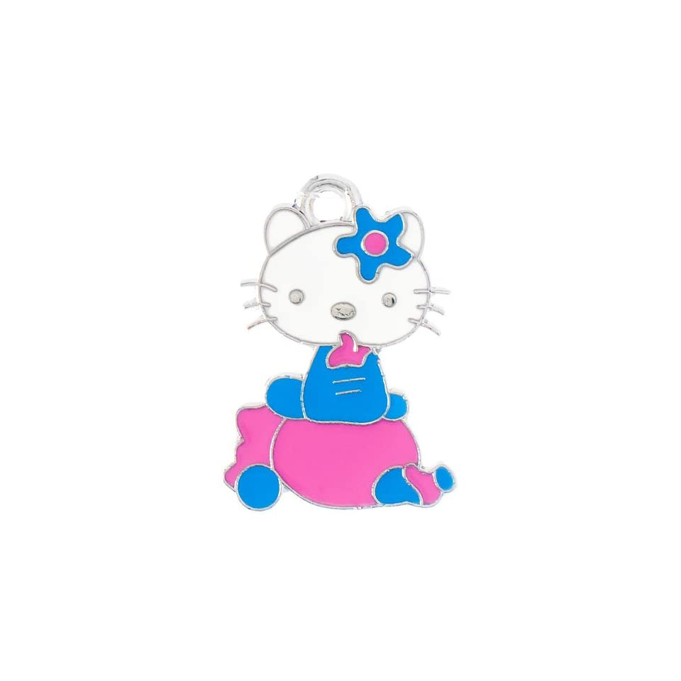 12X DIY Jewelry Making Sitting Hello Kitty enamel charm   Cerulean/Pink
