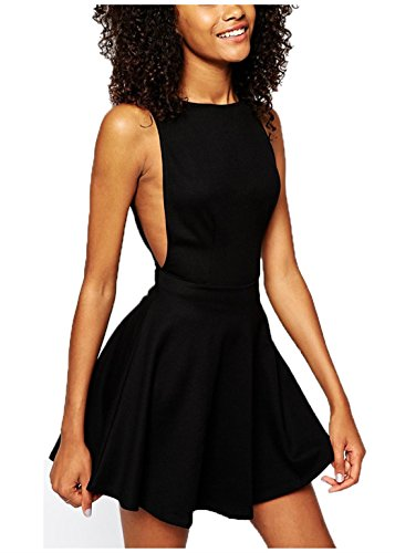 Wink Gal women's Sexy Backless Round Neck Sleeveless Casual Dress Colour Black Size M