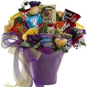 SCHEDULE YOUR DELIVERY DAY! Happy Birthday! Candy, Chocolate Bar and Cookie Bouquet - Gift Basket