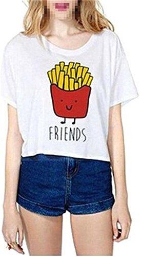 Fourling T-shirt Cartoon summer Stampa di patate fritte modello a maniche corte-Shirt T-shirt donne della maglia Camicia a maniche corte simpatico migliori Camicetta (Bianca) -S(EU 32) - per One