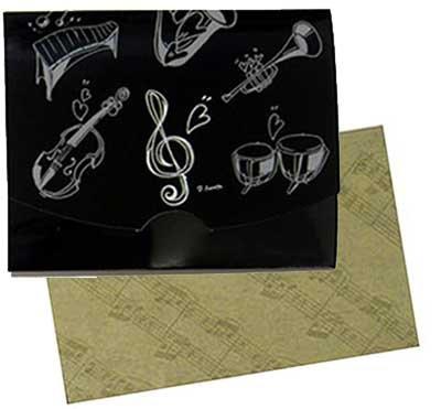 和紙あぶらとり紙≪ト音記号+楽器柄ブラック ≫