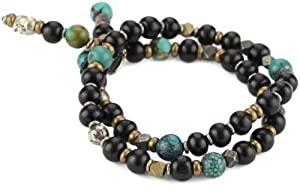 M.Cohen Handmade Designs Ebony Beaded Wrap Bracelet with Turquoise-Color and Brass Detail