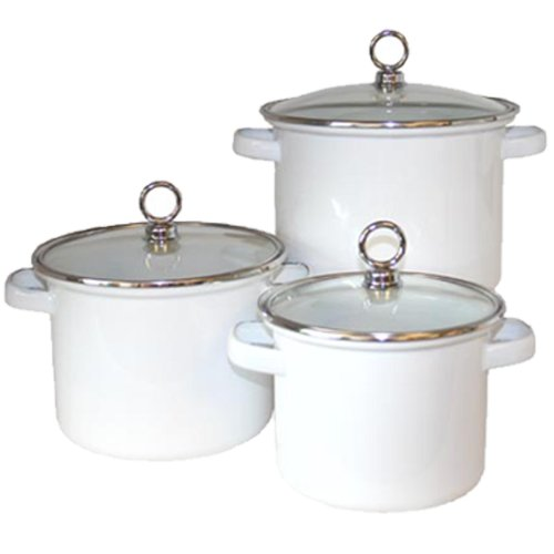 Reston Lloyd 70300 White - Set of 3 Stock Pots With Glass