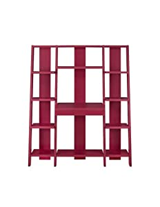Altra Furniture Ladder Bookcase with Desk, Red Finish