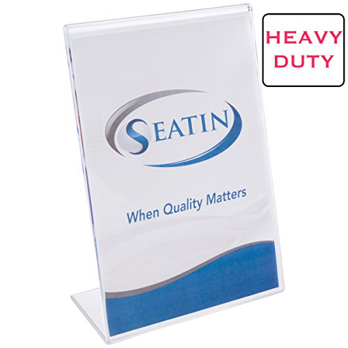 Seatin Premium Ultra Stable Clear Acrylic Sign Holder 8.5 x 11 Inches Heavy Duty Extra Thick 2-in-1 Tabletop Slant Back (2-Pack) (Hotel Desk Folder compare prices)