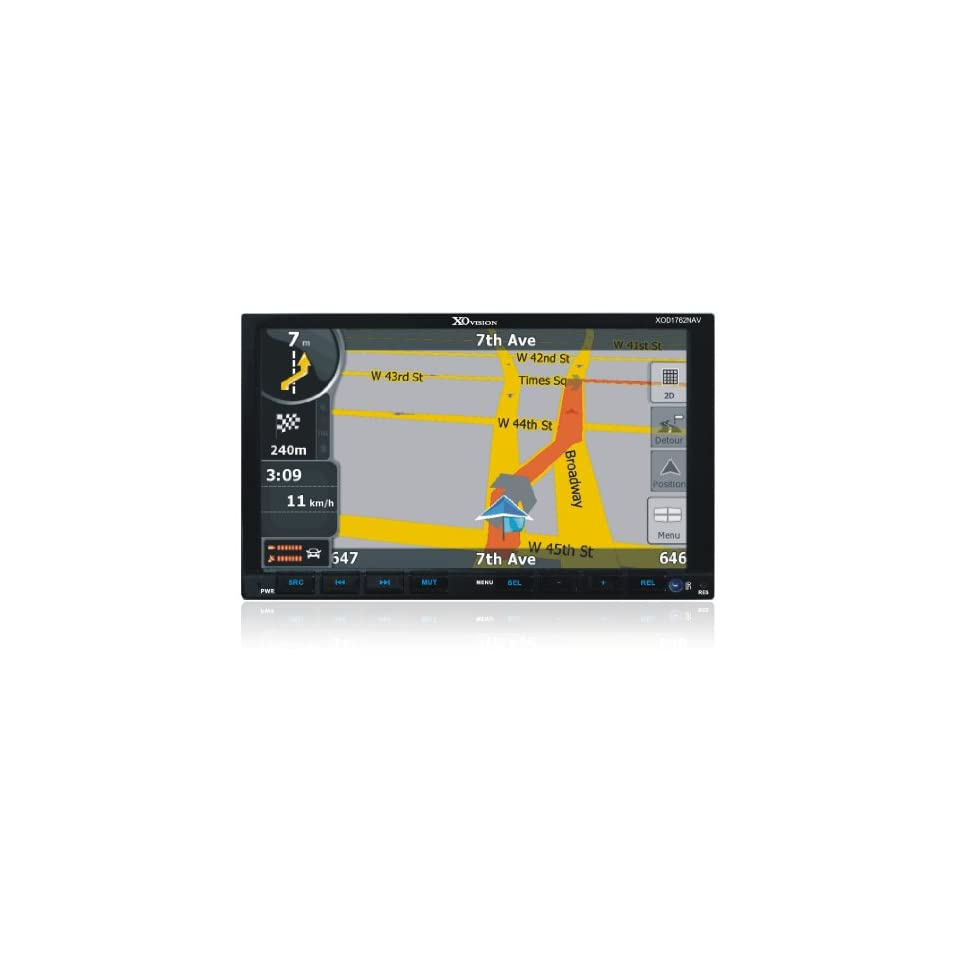 XO Vision XOD1762NAV 7 Inch Double Din Touch Screen Car DVD Receiver with Built In Navigation System