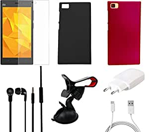 NIROSHA Tempered Glass Screen Guard Cover Case Charger Headphone Mobile Holder for Xiaomi Mi3 - Combo