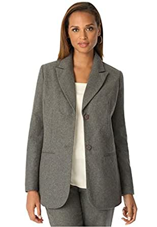 Jessica London Women's Plus Size Tall Wool Blazer With Notch Collar Charcoal