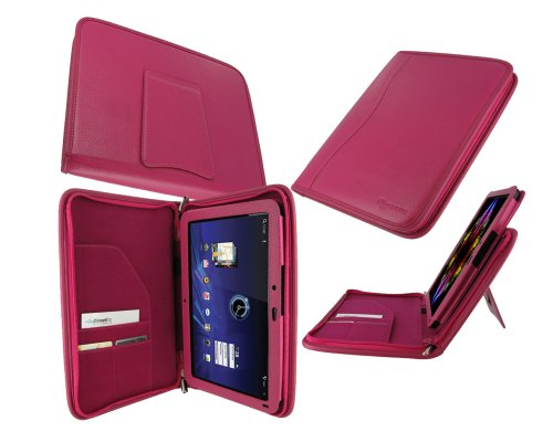 rooCASE Executive Portfolio (Magenta) Leather Case Cover with Landscape / Portrait View for Motorola XOOM Android Tablet (NOT Compatible with XOOM Family and XOOM 2)