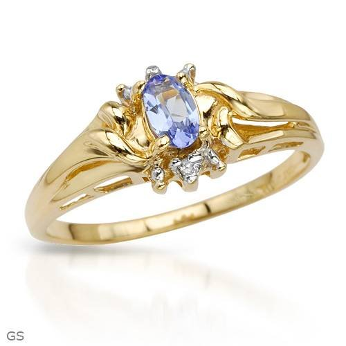 Yellow Gold 0.19 CTW Tanzanite and 0.01 CTW Accent Diamond Ladies Ring. Ring Size 7. Total Item weight 2.1 g.
